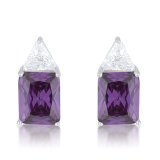 Kate Bisset Sterling Silver Amethyst Cubic Zirconia Stud Earrings