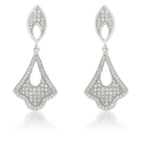Sterling Silver Cubic Zirconia Dangling Tear Drop Earrings