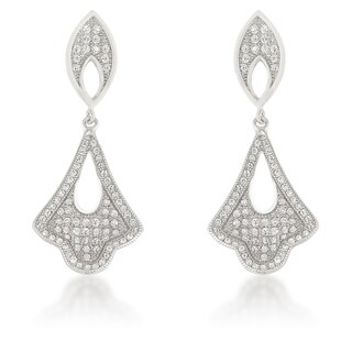 Sterling Silver Cubic Zirconia Dangling Tear Drop Earrings