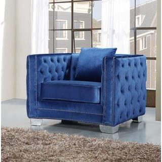Meridian Reese Light Blue Tufted Velvet Chair