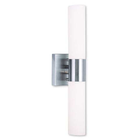 Livex Lighting Aero Brushed Nickel Steel and Frosted Glass 2-light Bath Light