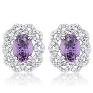 Rhodium-plated Amethyst Cubic Zirconia Oval Stud Earrings