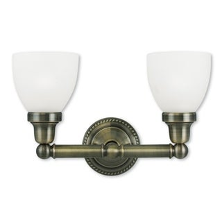 Livex Lighting Classic Antique Brass Steel/Frosted Glass 2-light Bath Light
