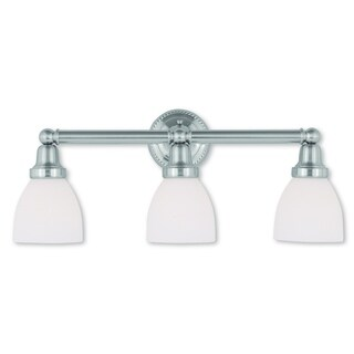 Livex Lighting Classic Brushed Nickel Steel/Frosted Glass 3-light Bath Light