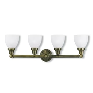 Livex Lighting Classic Gold Steel, Frosted Glass 4-light Vanity Bathroom Light
