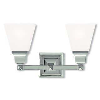 Livex Lighting Mission Polished Nickel Steel/Frosted Glass 2-light Bath Light
