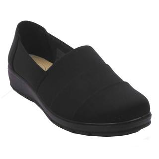 Blue Women's Black Satin Comfort Flat