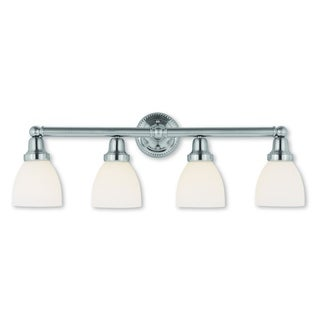 Livex Lighting Classic Brushed Nickel Steel/Frosted Glass 4-light Bath Light