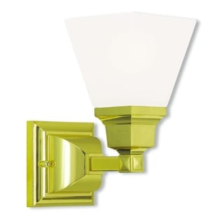 Livex Lighting Mission Polished Brass Steel and Frosted Glass 1-light Bath Light