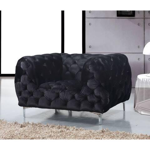 Meridian Mercer Black Velvet Chair