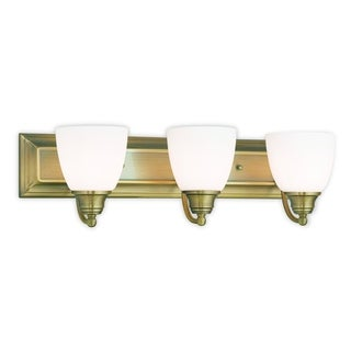 Livex Lighting Springfield Antique Brass Steel and Frosted Glass 3-light Bath Light