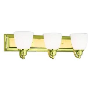 Livex Lighting Springfield Polished Brass Satin Opal White Frosted Glass 3-light Bath Light
