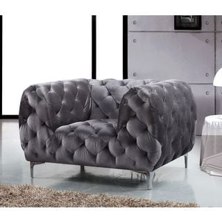 Meridian Mercer Grey Velvet Chair