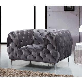 Meridian Mercer Grey Velvet Chair