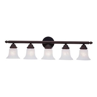 Livex Lighting Neptune Classic Bronze Finish Steel Bath Arm White Alabaster Glass 5-light Bath Light