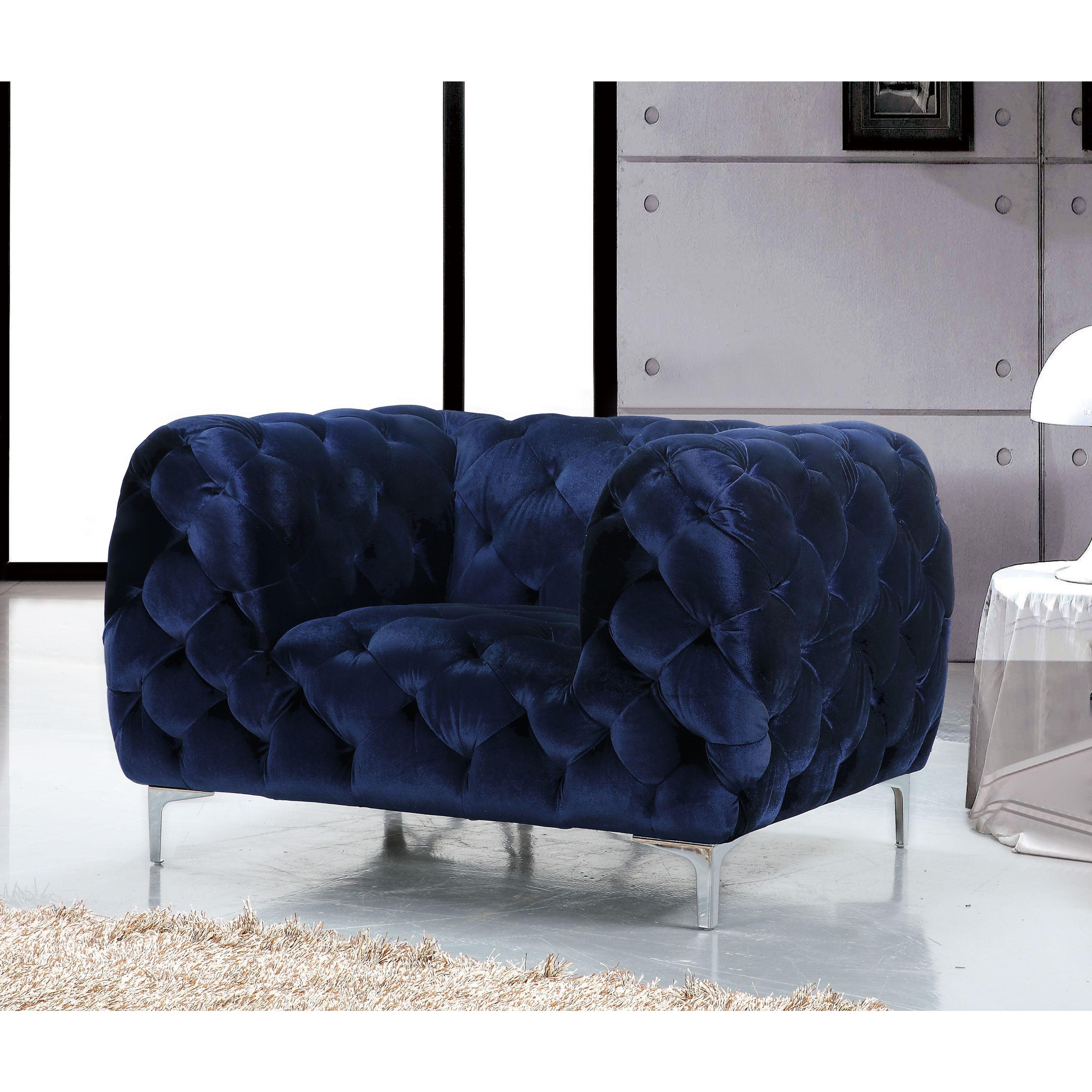 Gentil Meridian Mercer Blue Velvet Tufted Chair