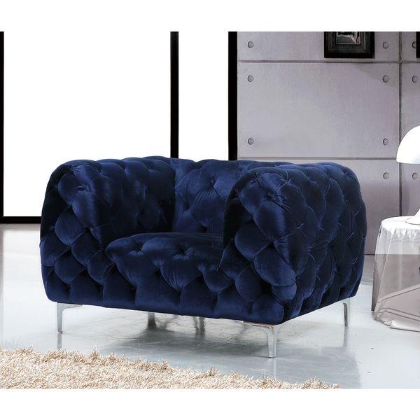 Meridian Mercer Blue Velvet Tufted Chair