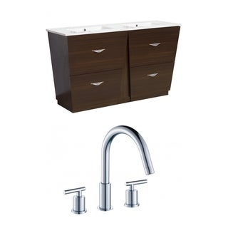 60-in. W x 18.5-in. D Plywood-Melamine Vanity Set In Wenge With 8-in. o.c. CUPC Faucet