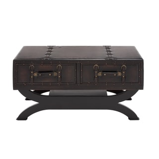 The Classy Wood Leather Coffee Table