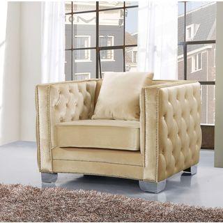 Meridian Reese Beige Velvet Tufted Chair