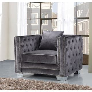Meridian Reese Grey Velvet Chair