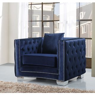 Meridian Reese Navy Velvet Chair