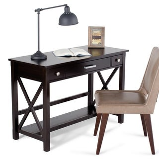WYNDENHALL Waterloo Solid Wood Contemporary 47 inch Wide Writing Office Desk in Dark Walnut Brown