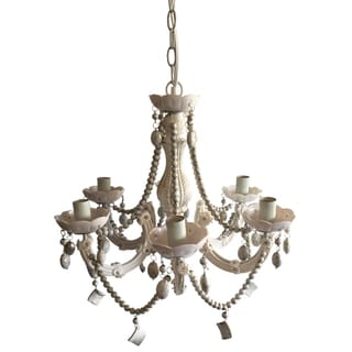 Iron, Plastic, and Glass 19-inch x 20-inch Beaded Chandelier
