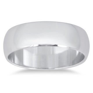 Marquee Jewels 14k White Gold 6-millimeter Domed Comfort Fit Wedding Band