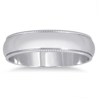 Marquee Jewels 14k White Gold Milgrain Edge Wedding Band