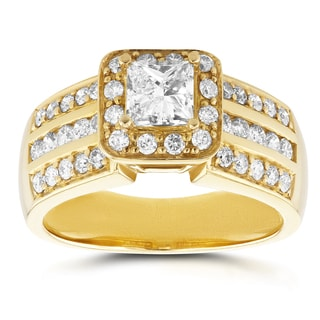 Annello by Kobelli 14k Yellow Gold 1ct TDW Princess Diamond Halo Engagement Ring
