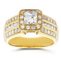 Annello by Kobelli 14k Yellow Gold 1ct TDW Princess Diamond Halo Engagement Ring