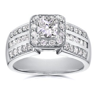 Annello 14k White Gold 1ct TDW Princess Diamond Halo Engagement Ring (H-I, I1-I2)