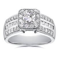 Annello by Kobelli 14k White Gold 1ct TDW Princess Diamond Halo Engagement Ring