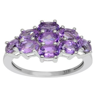 Orchid Jewelry 2.00 CTW genuine Amethyst sterling silver ring