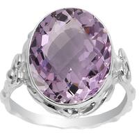 Orchid Jewelry 7.30 CTW genuine Pink Amethyst sterling silver ring