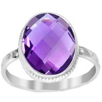 Orchid Jewelry 3.80 CTW genuine Amethyst sterling silver ring