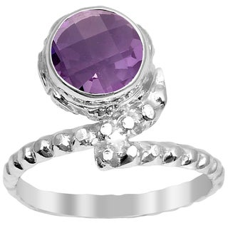 Orchid Jewelry 1.90 CTW Natural Amethyst Birthstone Sterling Silver Ring - Purple