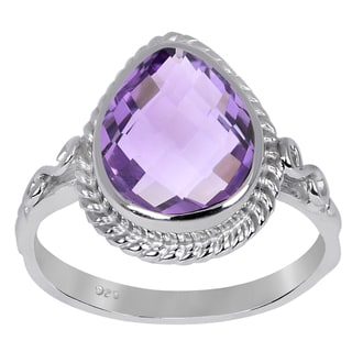 Sterling Silver 3 2 Carat Genuine Amethyst Pear Shaped Engagement Ring
