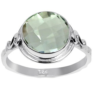 Orchid Jewelry 3.20 CTW genuine Green Amethyst sterling silver ring