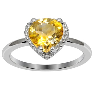 Orchid Jewelry Valentine Collection Sterling Silver 1 1/25CTtw genuine Citrine Ring