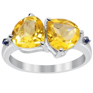 Orchid Jewelry 925 Sterling Silver 3 1/4ct. Citrine Double Heart Ring