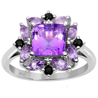 Orchid Jewelry Sterling Silver 2.55 CTW Genuine Amethyst and Sapphire Ring