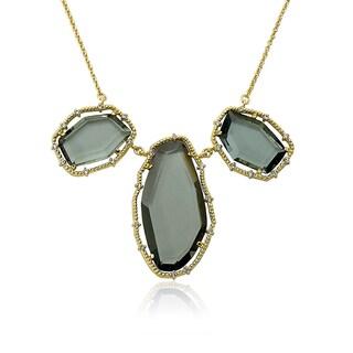 Radiance Bijou by Riccova 14k Gold-plated Black Sliced Glass 16-inch Chain Necklace
