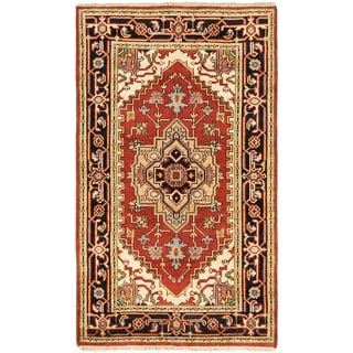 eCarpetGallery Serapi Heritage Brown/Black Cotton/Wool Hand-knotted Rug (3'0 x 5'1)
