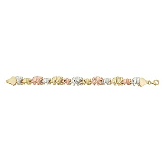 Decadence 14k Tri-color Gold 8-inch DC Textured Mommy and Baby Elephant Bracelet
