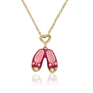 Molly Glitz 14-karat Gold-plated Hot Pink Enamel Heart Topped Ballet Shoe Pendant 14-inch Chain Necklace