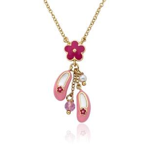 Riccova 14k Gold-plated Brass Little Miss Twin Stars Ballet Beauty Necklace