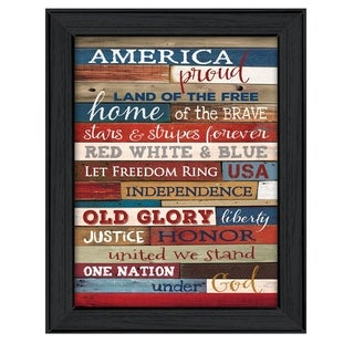 """America Proud"" By Marla Rae, Printed Wall Art, Ready To Hang Framed Poster, Black Frame"