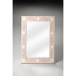 Handmade Butler Vivienne Pink Bone Inlay Wall Mirror (India) - Off-White
